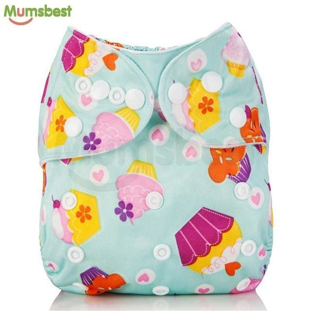 [Mumsbest] 2017 Washable Baby Cloth Diaper Cover Waterproof Cartoon Owl Baby Diapers Reusable Cloth 147 / with 1 insert