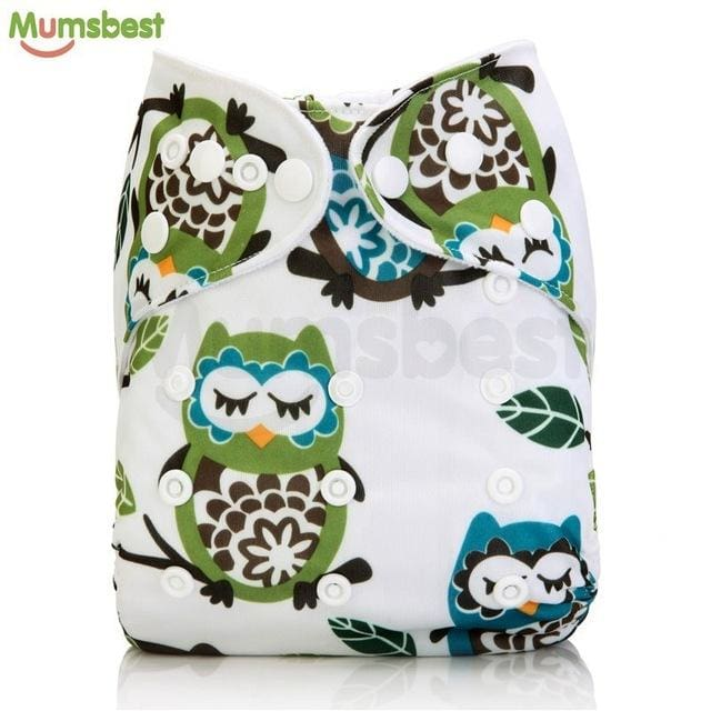 [Mumsbest] 2017 Washable Baby Cloth Diaper Cover Waterproof Cartoon Owl Baby Diapers Reusable Cloth 140 / with 1 insert