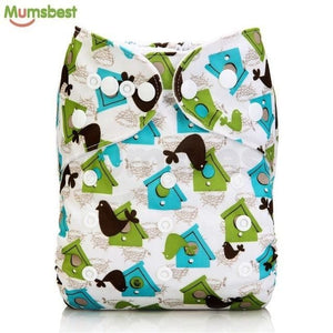 [Mumsbest] 2017 Washable Baby Cloth Diaper Cover Waterproof Cartoon Owl Baby Diapers Reusable Cloth 132 / with 1 insert