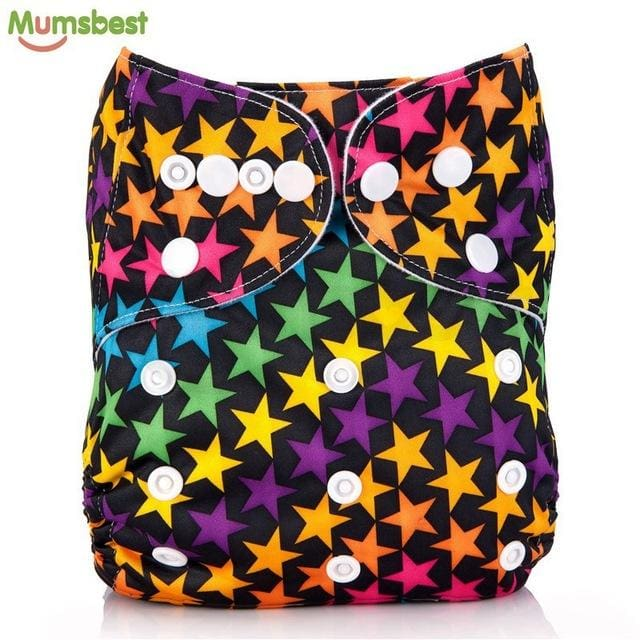 [Mumsbest] 2017 Washable Baby Cloth Diaper Cover Waterproof Cartoon Owl Baby Diapers Reusable Cloth 107 / with 1 insert