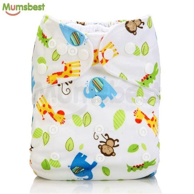 [Mumsbest] 2017 Washable Baby Cloth Diaper Cover Waterproof Cartoon Owl Baby Diapers Reusable Cloth 117 / with 1 insert