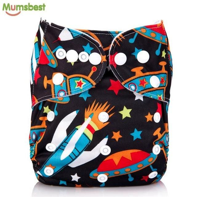 [Mumsbest] 2017 Washable Baby Cloth Diaper Cover Waterproof Cartoon Owl Baby Diapers Reusable Cloth 106 / with 1 insert