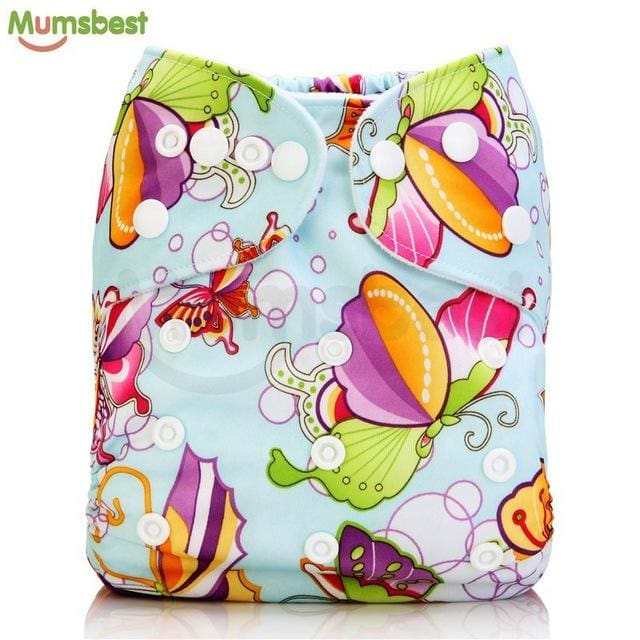 [Mumsbest] 2017 Washable Baby Cloth Diaper Cover Waterproof Cartoon Owl Baby Diapers Reusable Cloth 137 / with 1 insert