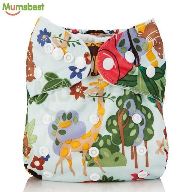 [Mumsbest] 2017 Washable Baby Cloth Diaper Cover Waterproof Cartoon Owl Baby Diapers Reusable Cloth 134 / with 1 insert