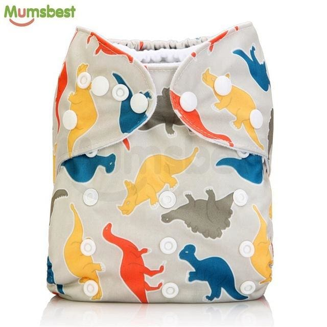 [Mumsbest] 2017 Washable Baby Cloth Diaper Cover Waterproof Cartoon Owl Baby Diapers Reusable Cloth 146 / with 1 insert