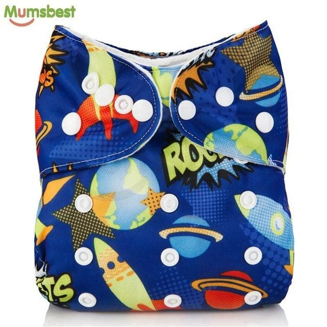 [Mumsbest] 2017 Washable Baby Cloth Diaper Cover Waterproof Cartoon Owl Baby Diapers Reusable Cloth 142 / with 1 insert