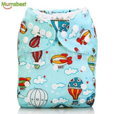 [Mumsbest] 2017 Washable Baby Cloth Diaper Cover Waterproof Cartoon Owl Baby Diapers Reusable Cloth 105 / with 1 insert