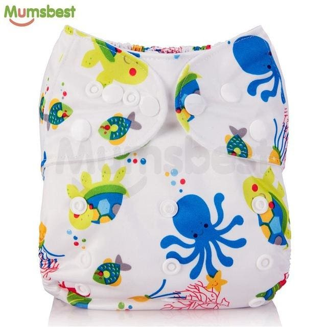 [Mumsbest] 2017 Washable Baby Cloth Diaper Cover Waterproof Cartoon Owl Baby Diapers Reusable Cloth 109 / with 1 insert