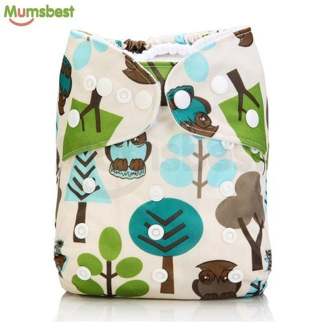 [Mumsbest] 2017 Washable Baby Cloth Diaper Cover Waterproof Cartoon Owl Baby Diapers Reusable Cloth 129 / with 1 insert