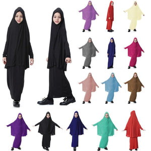 Muslim Kids Girls Hijab Caps+Skirt 2Pcs Set Abaya Maxi Dress Islamic Clothes D426
