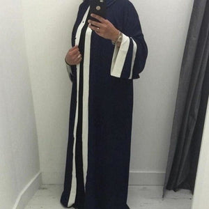 Muslim Striped Abaya Dress Hijab Tunic Cardigan Long Robe Gowns Kimono Jubah Ramadan Arabturkish Navy Blue / L