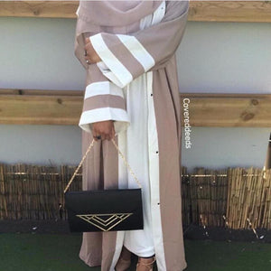 Muslim Striped Abaya Dress Hijab Tunic Cardigan Long Robe Gowns Kimono Jubah Ramadan Arabturkish