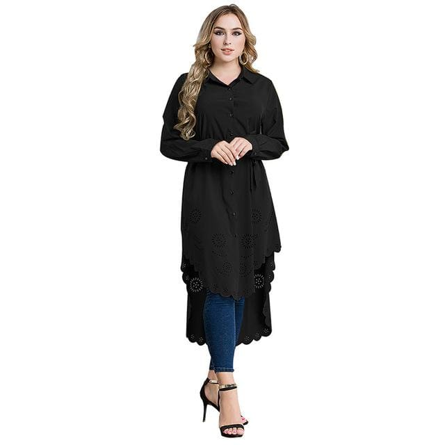 8b483ae126f2 Muslim Womens Top Shirt Dress Abaya Hollow Out Middle East Robe Moroccan  Jubah Ramadan Arab Worship ...