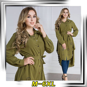 Muslim Womens Top Shirt Dress Abaya Hollow Out Middle East Robe Moroccan Jubah Ramadan Arab Worship