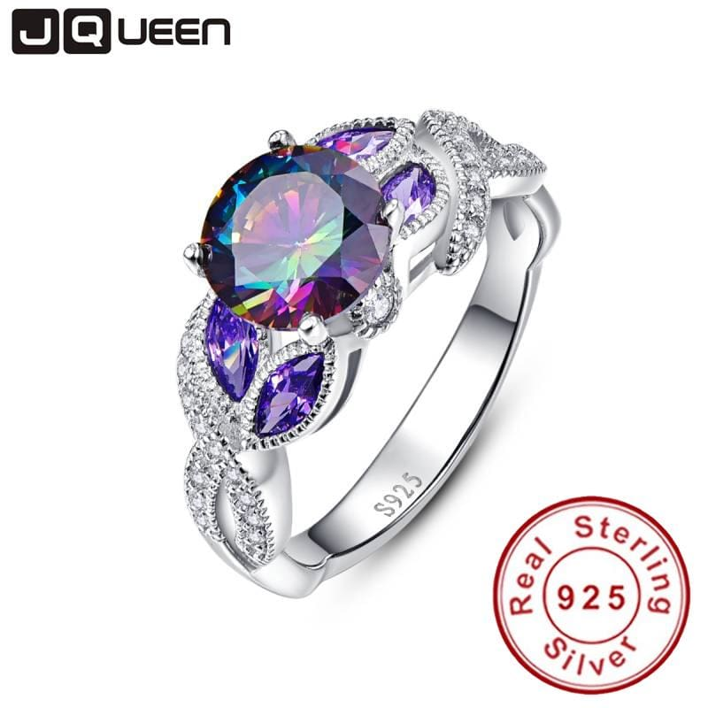 Mystical Rainbow Topaz 925 Sterling Silver Rings Sapphire Engagement Rings With Clear CZ For Women