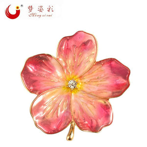 MZC 2018 Lucky Pink Enamel Flower Brooches Female Hijab Pin Corsage Brooch for Women Wedding Dress - MBMCITY