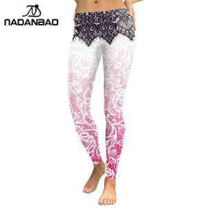 NADANBAO 2018 Women Leggings Mandala Flower Digital Print Slim Pink Fitness Woman leggins Workout