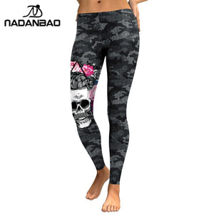 Nadanbao New Arrival Leggings Women Skull Head 3D Printed Camouflage Legging Workout Leggins Slim