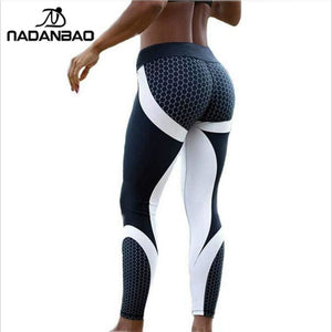 NADANBAO New Arrival Pattern Leggings Women Printed Pants Work Out Sporting Slim White Black