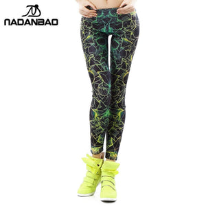 Nadanbao Wholelsales New Fashion Women Leggings 3D Printed Color Legins Ray Fluorescence Leggins