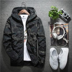 Naranjasabor Spring Autumn Mens Casual Camouflage Hoodie Jacket Men Waterproof Clothes Mens Red Jacket / M