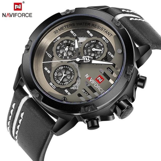 NAVIFORCE Mens Watches Top Brand Luxury Waterproof 24 hour Date Quartz Watch Man Leather Sport Wrist BWB