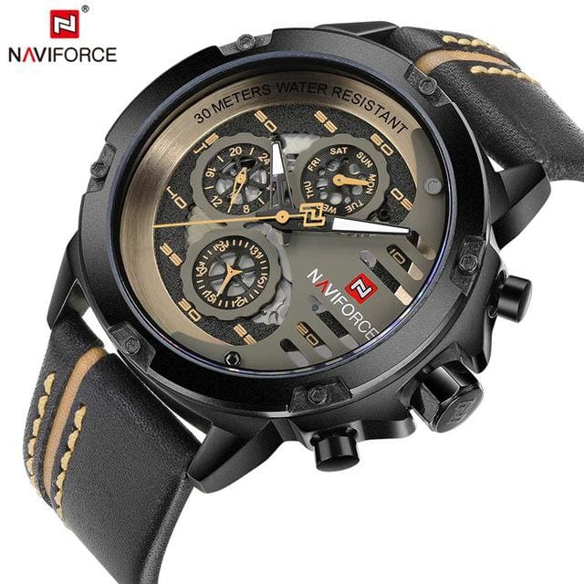 NAVIFORCE Mens Watches Top Brand Luxury Waterproof 24 hour Date Quartz Watch Man Leather Sport Wrist BYBN