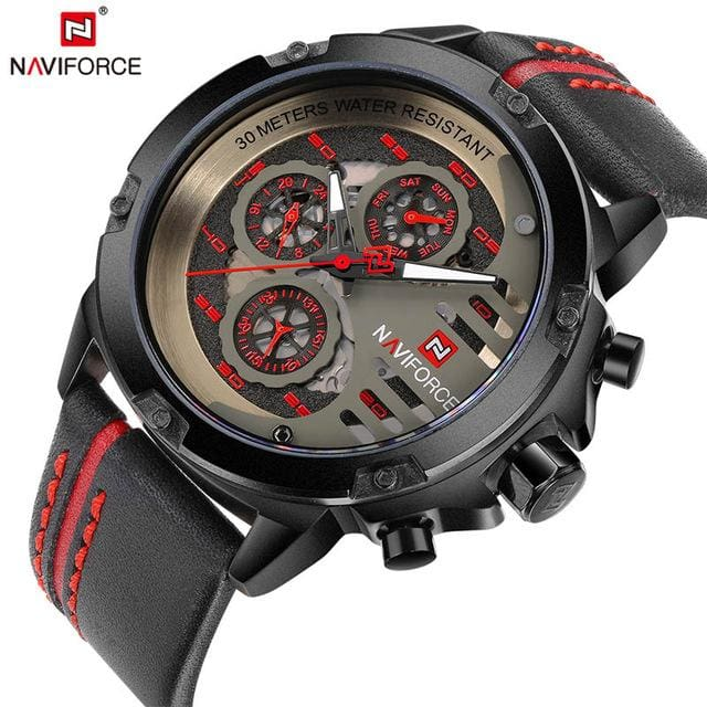NAVIFORCE Mens Watches Top Brand Luxury Waterproof 24 hour Date Quartz Watch Man Leather Sport Wrist BRB