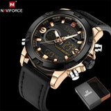 NAVIFORCE Original Luxury Brand Leather Quartz Watch Men Clock Digital LED Army Military Sport - MBMCITY