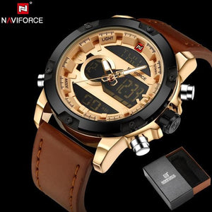NAVIFORCE Original Luxury Brand Leather Quartz Watch Men Clock Digital LED Army Military Sport.