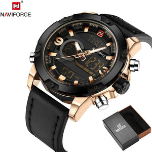 Naviforce Original Luxury Brand Leather Quartz Watch Men Clock Digital Led Army Military Sport