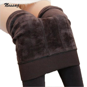 Nessaj Autumn Winter Fashion Women's Plus Cashmere Tights High Quality Knitted Velvet Tights Elastic - MBMCITY