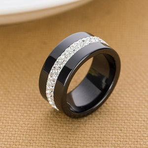 New 10MM Black and White 2 Row Crystal Ceramic Ring Women Engagement Promise Wedding Band Gifts For - MBMCITY