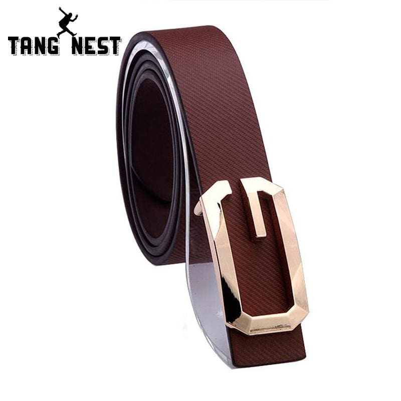 New 2017 Arrival Men's Belt Fashion PU Leather Premium G Shape Metal Buckle Textured Strap Four - MBMCITY