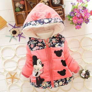 New 2017 Autumn & Winter Children Minnie Hoodies Jacket & Coat Baby Girls Clothes Kids Toddle Rose / 2T