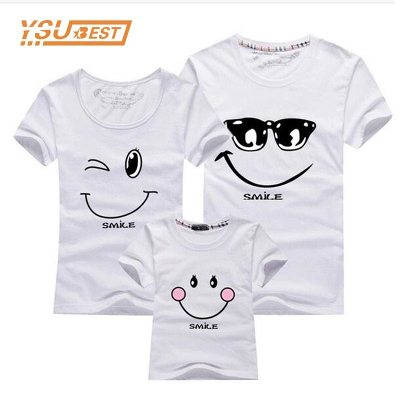 New 2017 Cotton Family Matching T Shirt Smiling Face Shirt Short Sleeves Matching Clothes Fashion - MBMCITY