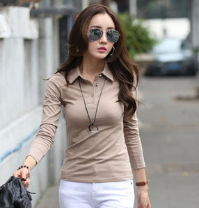 Polo Women Long Sleeve Casual Polo Shirt For Women Poleras Cotton Polos Mujer Autumn Winter - MBMCITY