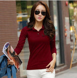 New 2017 Polo Women Long Sleeve Casual Polo Shirt For Women Poleras Cotton Polos Mujer Autumn Winter Wine Red / S
