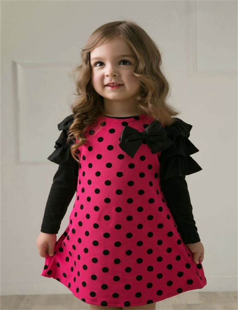 New 2017 spring dot girls' dresses, children's clothes, children's princess gauze clothes, girl.