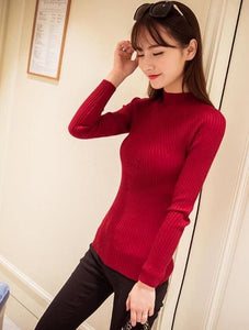 New 2017 Spring Fashion Women Sweater High Elastic Solid Turtleneck Sweater Women Slim Sexy Tight Wine Red / One Size