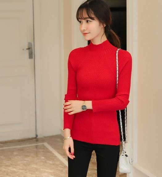 New 2017 Spring Fashion Women Sweater High Elastic Solid Turtleneck Sweater Women Slim Sexy Tight Red / One Size