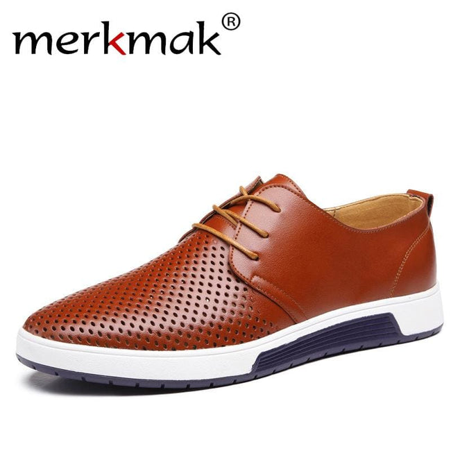 New 2017 Summer Brand Casual Men Shoes Mens Flats Luxury Genuine Leather Shoes Man Breathing Holes - MBMCITY