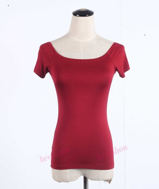 New 2017 Summer Fashion Sexy Off The Shoulder Tops For Women Casual Short Sleeve Cotton T-Shirts Wine Red Short / Xxl