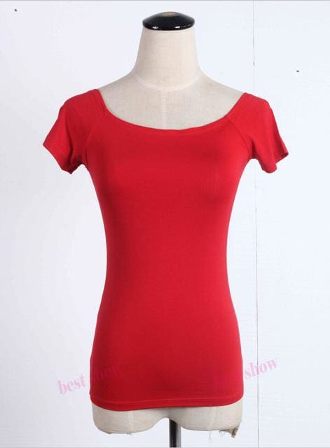 New 2017 Summer Fashion Sexy Off The Shoulder Tops For Women Casual Short Sleeve Cotton T-Shirts Red Short Sleeve / Xxl