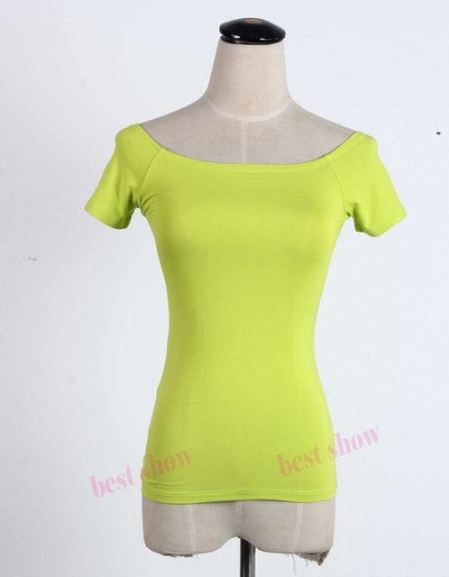 New 2017 Summer Fashion Sexy Off The Shoulder Tops For Women Casual Short Sleeve Cotton T-Shirts Neno Green Short / Xxl