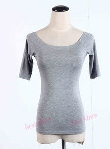 New 2017 Summer Fashion Sexy Off The Shoulder Tops For Women Casual Short Sleeve Cotton T-Shirts Gray Half Sleeve / Xxl