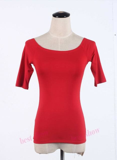 New 2017 Summer Fashion Sexy Off The Shoulder Tops For Women Casual Short Sleeve Cotton T-Shirts Red Half Sleeve / Xxl