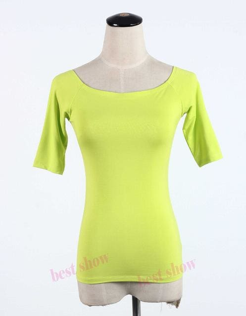 New 2017 Summer Fashion Sexy Off The Shoulder Tops For Women Casual Short Sleeve Cotton T-Shirts Neno Green Half / Xxl