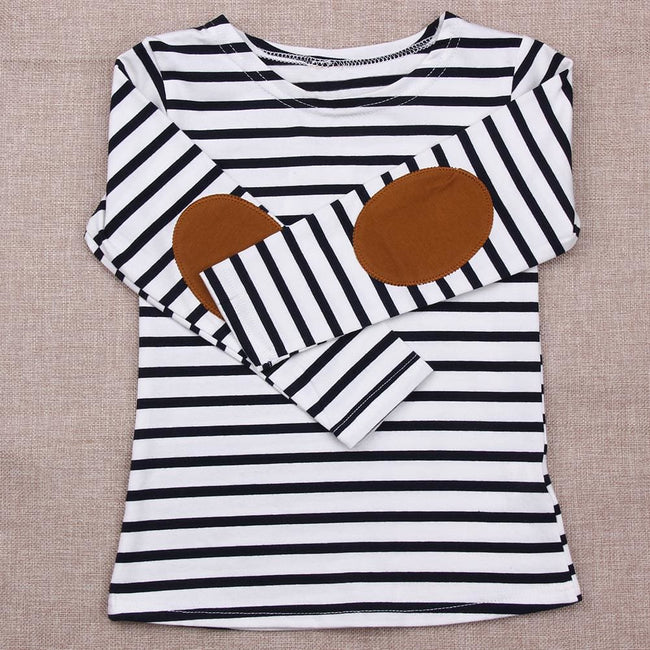 New 2017 Summer Kids Girls T-shirt Long Sleeve Striped Cotton T-shirt Girl Children Fashion Tops - MBMCITY