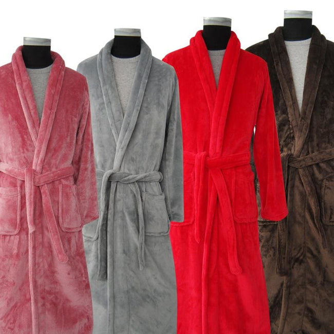 New Arrival Lovers Luxury Silk Flannel Winter Long Bathrobe Mens Kimono Bath Robe Men Women Night - MBMCITY